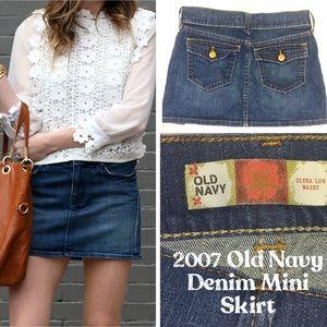 Old Navy Ultra Low Rise Mini Denim Jean Skirt Sz 2